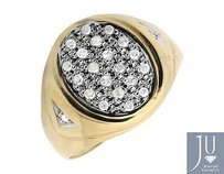 Mens Solid 10k Yellow Gold Oval Shape Top Genuine Diamond Pinky Ring 0.25ct.