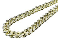Mens Solid Yellow Gold Miami Cuban Link Mm Real Diamond Chain Necklace Ct