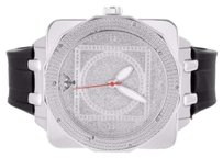Other Mens Square Face 14k White Gold Finish Silicon Strap Diamond King Jojo Watch