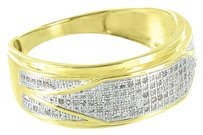 Other Mens Wedding Engagement Ring 10k Yellow Gold Genuine Diamonds Pave Set Band