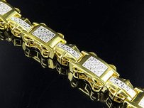 Mens Yellow Gold Finish Micro Pave Mens Diamond Silver Bracelet 8.5 .60ct
