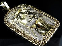 Mens Yellow Gold Jesus Face Piece Cuban Link Diamond 4.25 Inch Pendant Charm 8ct