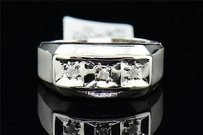 Mens 10k White Gold 3 Stone Diamond Engagement Ring Wedding Band Brushed Finish