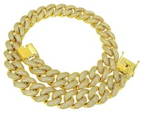 Miami Cuban Necklace 14k Gold Finish Mm Simulated Diamonds 30 Heavy 500 Gr
