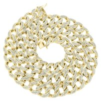 Miami Cuban Necklace Simulated Diamonds 14k Yellow Gold Finish 30 Heavy 200 Gr