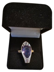 Modernistic Amethyst and White Topaz Ring