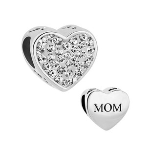 Other Mom Mother Charm Heart I Love You Birthstone Crystal