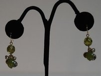 Other Multi Colored Green Beaded Bronze Accent Beads Earrings