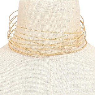 Multi-tiered Gold Tone wire choker necklace
