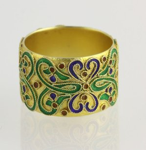 Museum Collection Ring - Sterling Silver Enamel Glass Antique-style Band