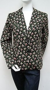 Other My Boyfriends Back Black Floral Padded Shoulder Button Front Blazer Jacket