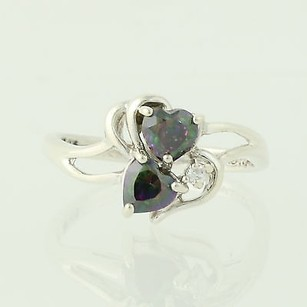 Mystic Topaz Heart Ring - Sterling Silver 925 Bypass Band Womens 8.25 Czs