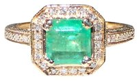 Natural Columbian Emerald and Diamond 14k Solid Gold Ring