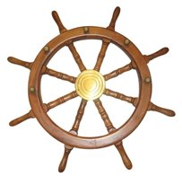 Other Nautical Wood and Brass Decorative Ship Wheel 24
