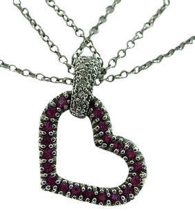 Fine,Estate,14k,White,Gold,Pink,Stone,Heart,Diamond,Pendant,Necklace