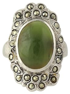 Other Nephrite Jade Marcasite Ring - Sterling Silver 6.25 Cocktail Womens