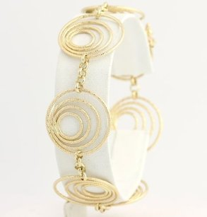 Nested Circle Bracelet 7.25 - 14k Yellow Gold Womens Italy Contemporary 19.7mm