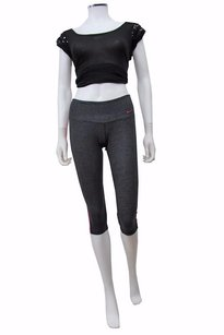 Nike Dri-fit Athletic Essential Crop Yoga Capri Workout Pants Gray Pink