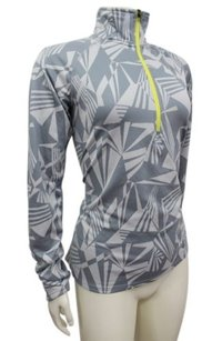 Other Nike Running Dri-fit Gray Geo Print Yellow 12 Zip Athletic Top