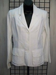 Other Ohalloran White Embroidered 100 Linen Unlined Blazer 30990rm