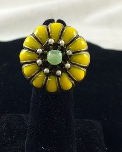 Ollipop Sweet Romance Yellow Stone Vintage Style Adjustable Ring 12