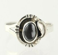 Onyx Leaf Ring - Sterling Silver 925 8.25-8.5 Band Womens Oval Solitaire