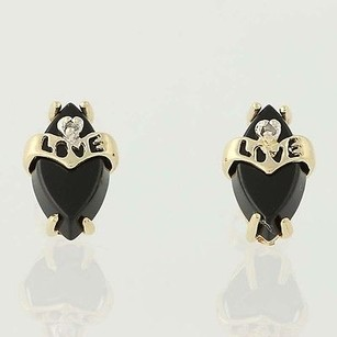 Other Onyx Love Earrings - 10k Yellow Gold Diamond Accents Pierced
