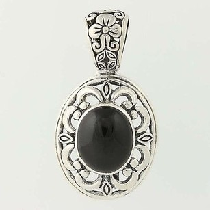 Onyx Openwork Floral Pendant - Sterling Silver Repousse Ornate Black Stone
