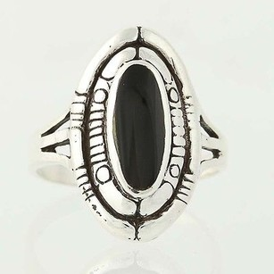 Onyx Ring - Sterling Silver Oval Solitaire Black Stone Chunky