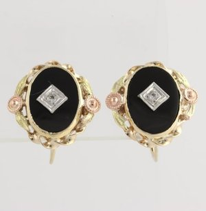 Other Onyx White Sapphire Earrings-10k Yellow White Rose Green Gold Fine .08ctw