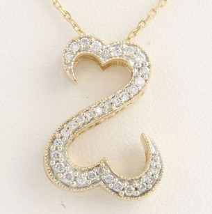 Open Hearts Diamond Pendant Necklace 19 - 34-14k Yellow White Gold .25ctw