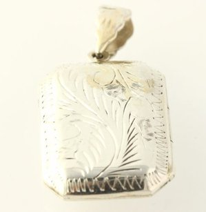 Opening Etched Locket - 925 Sterling Silver Womens Fine Estate Rectangle