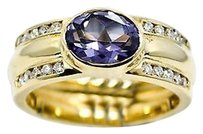 Oval Alexandrite Ring 14k Yellow Gold 0.28ct Diamonds Womens
