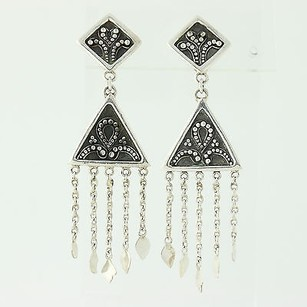 Other Patterned Drop Earrings - Sterling Silver Pierced