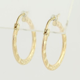 Other Patterned Hoop Earrings - 10k Yellow Gold Leaves Stripes Piecred