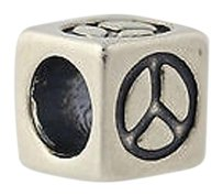 Peace Sign Block Bead Charm - Sterling Silver 925 Symbol Jewelry Making