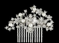 Pearl & Rhinestone Floral Wedding Bridal Hair Comb