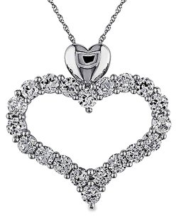 Other 10k White Gold 4 58 Ct Created White Sapphire Heart Solitaire Pendant Necklace