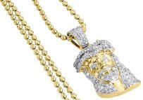 Diamond Jesus Face Pendant 10k Yellow Gold Mini Pave Charm Chain Set 0.75 Ct.