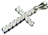 14k Ladies Mini Round Diamond Cross Charm Pendant .50 C