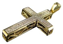 10k Yg Mens Ladies Mini Diamond Cross Charm Pendant .45