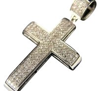 Other 10k Mens Ladies Mini Diamond Cross Charm Pendant .65 Ct