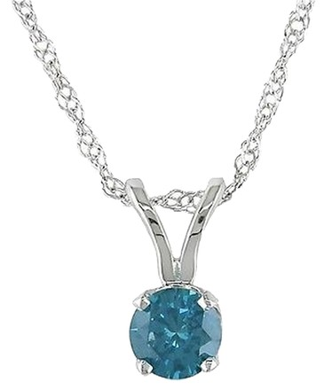 Other 14k White Gold Blue Diamond Solitaire Pendant Necklace 0.25 Ct 17 Chain