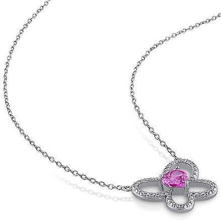 Other Sterling Silver 1 Ct Pink Sapphire Butterfly Nature Heart Love Pendant Necklace