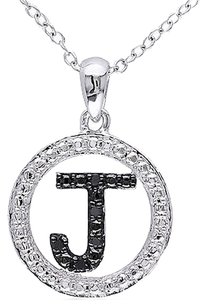 Sterling Silver Black Diamond Initials J Tone Pendant Necklace With Chain