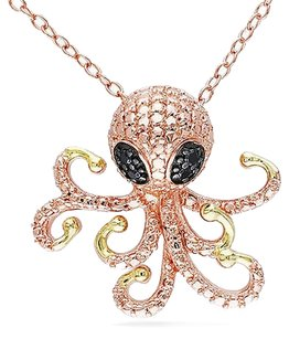 Two-tone Silver Black Diamond Tw Fashion Octopus Pendant Necklace With Chain