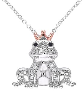 Other Two-tone Sterling Silver Black Diamond Fashion Frog Pendant Necklace With Chain