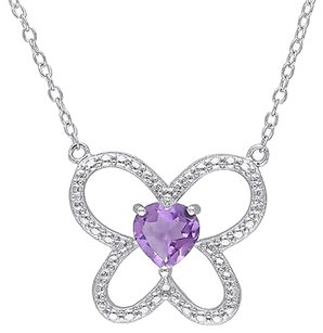 Other Sterling Silver 58 Ct Amethyst Butterfly Nature Heart Love Pendant Necklace