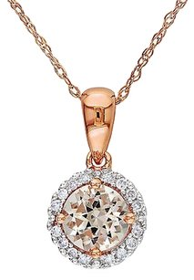 Other 10k Pink Gold 110 Ct Diamond 45 Ct Morganite Pendant Necklace Gh I2i3