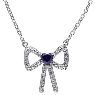Sterling Silver 13 Ct Created Sapphire Fashion Bow Love Heart Pendant Necklace